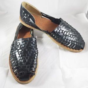 Toms Woven Leather Huarache Slip-On Flat Sandal 11